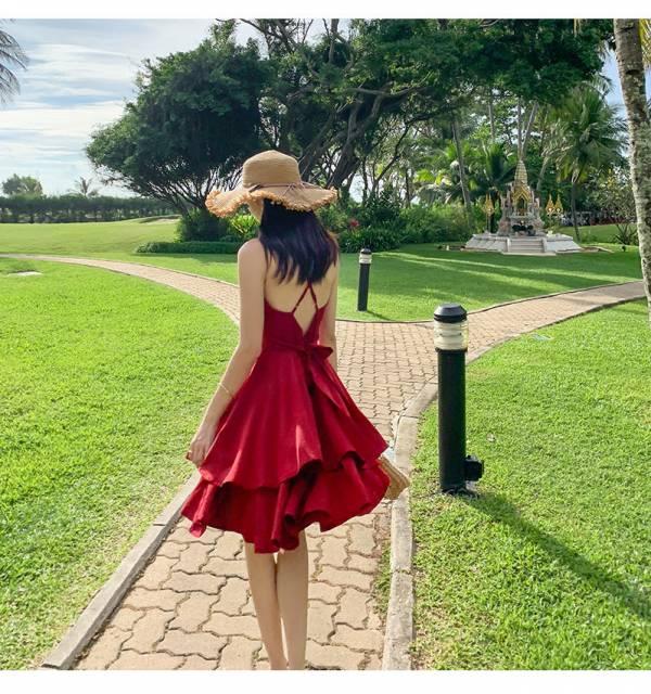 紅色美背短洋 渡假洋裝,短裙,短洋裝