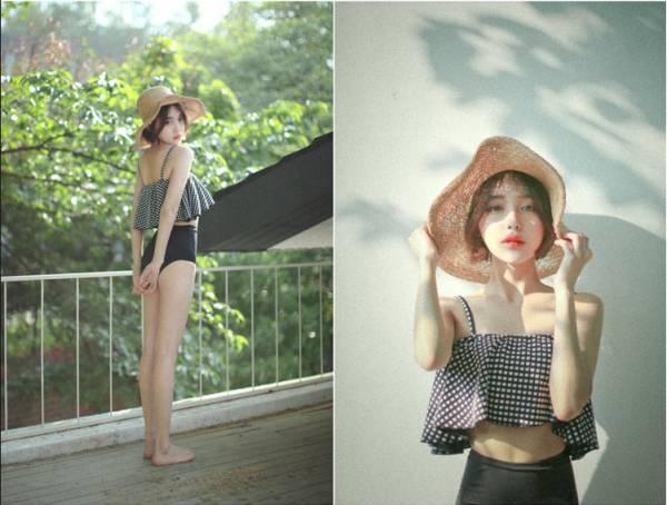 韓版復古款荷葉邊高腰兩截式泳衣 兩色 比基尼,泳裝,泳衣