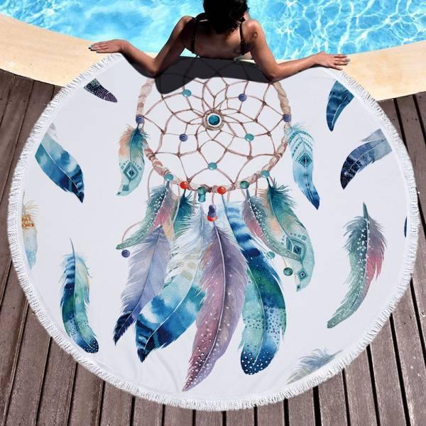 藍色羽毛捕夢網沙灘巾 沙灘巾