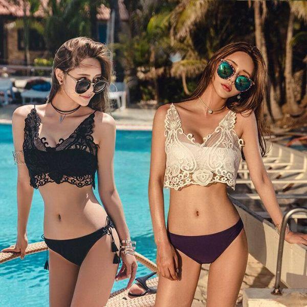平口蕾絲三件式 比基尼,泳裝,泳衣