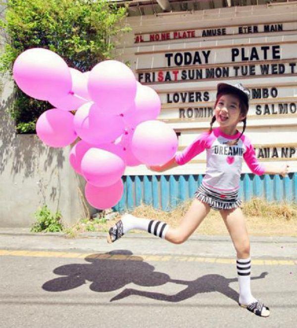 韓版兒童長袖粉紅字母防曬泳衣四件套 兒童泳裝,女童,兒童泳衣