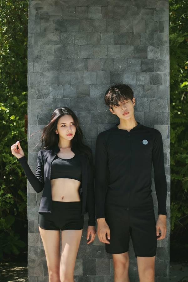 韓版長袖情侶防磨泳衣 情侶款泳衣,男款泳褲,泳裝