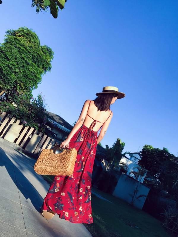 復古紅花性感細肩露背渡假洋裝長裙 渡假洋裝,長裙