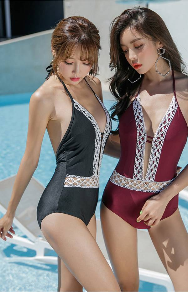 蕾絲滾邊連身泳衣兩色 連身遮肚泳衣