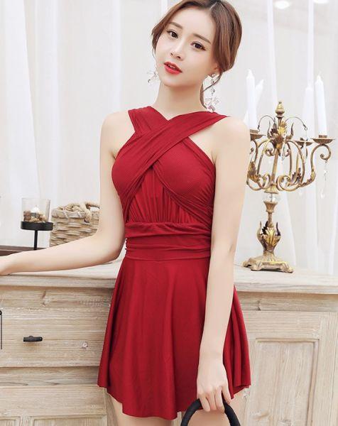 韓版氣質連身裙式泳衣 連身遮肚泳衣