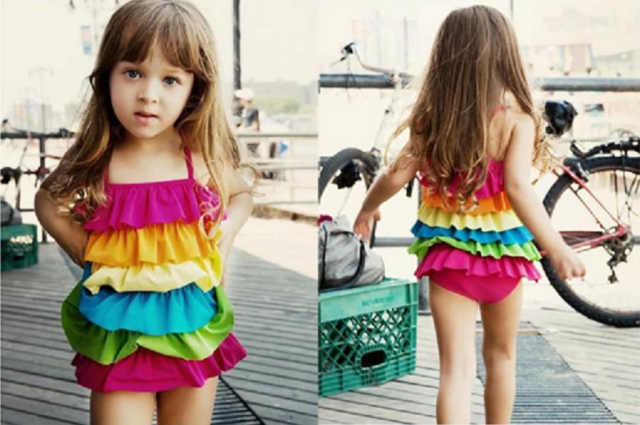 彩虹連身蛋糕裙兒童泳衣 兒童泳裝,女童,兒童泳衣