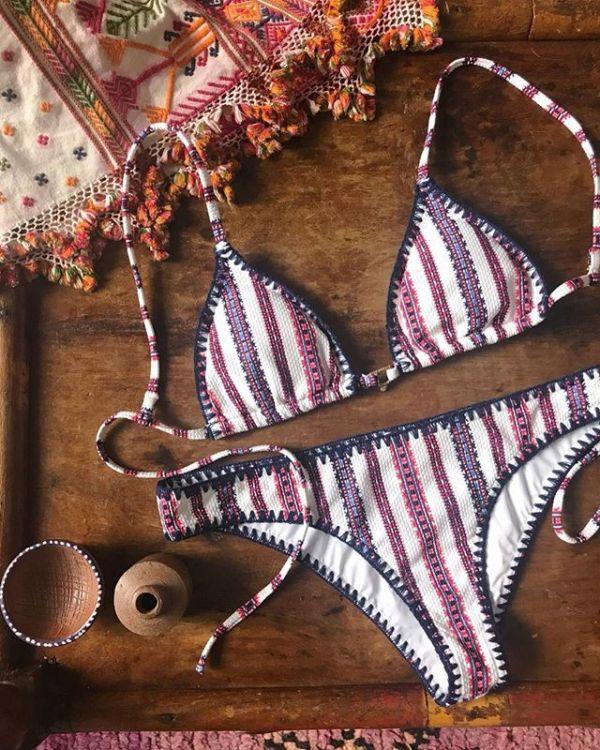 歐美無鋼圈波希米亞條紋比基尼 比基尼,泳裝,泳衣
