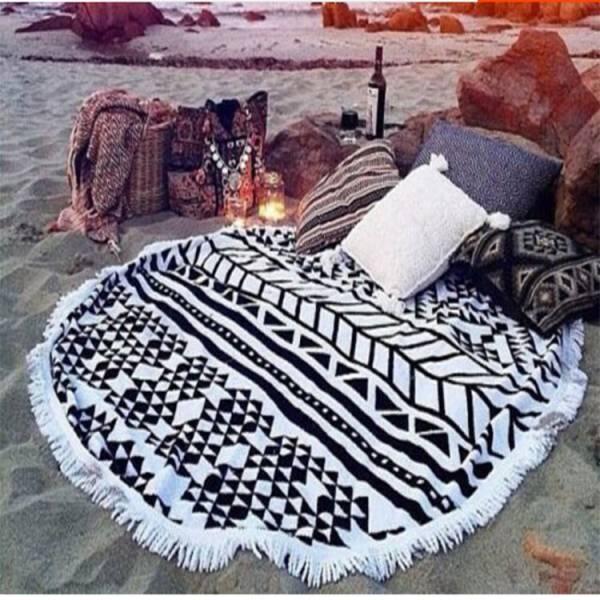 菱格白流蘇沙灘巾 沙灘巾