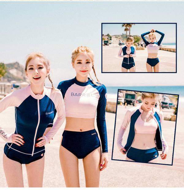 韓版長袖閨蜜款拉鍊三件式/短版兩件式 長袖防曬泳衣