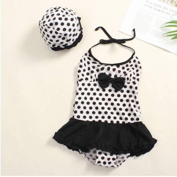 韓版兒童點點連身裙 兒童泳裝,女童,兒童泳衣