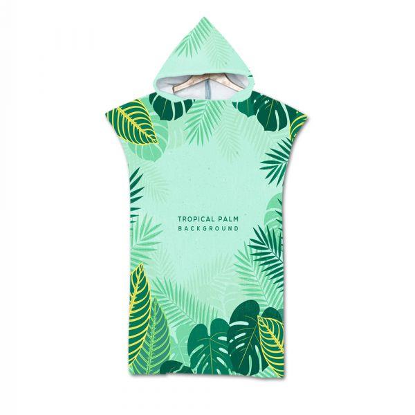 造型連帽毛巾衣熱帶綠葉 毛巾衣,浴巾