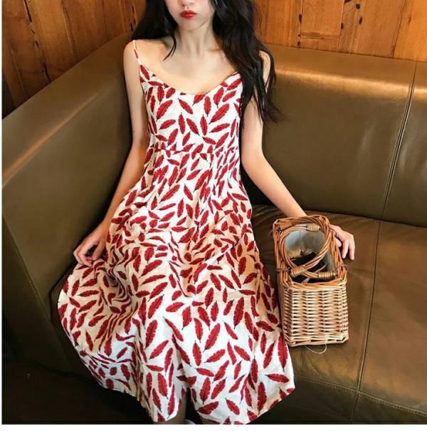 紅樹葉印花雪紡渡假洋裝 渡假洋裝,長裙