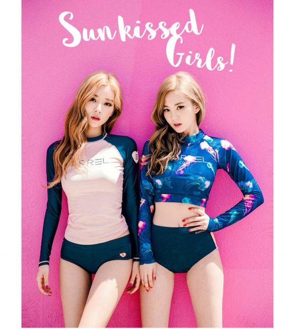 韓版閨蜜款長袖長版粉紅/短版藍色 長袖防曬泳衣