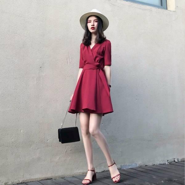 氣質V領綁帶短洋裝 渡假洋裝,短裙,短洋裝