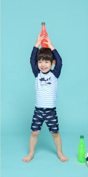 兒童長袖鯊魚泳衣附泳帽 兒童泳裝,男童,兒童泳衣