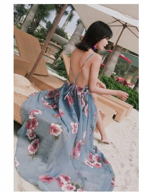 藍底花朵度假洋裝 渡假洋裝,長裙