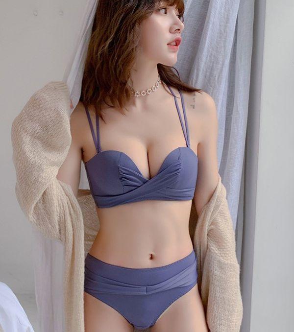 扭結美背美胸內衣(藍紫) 內衣,美胸內衣,集中內衣,性感內衣