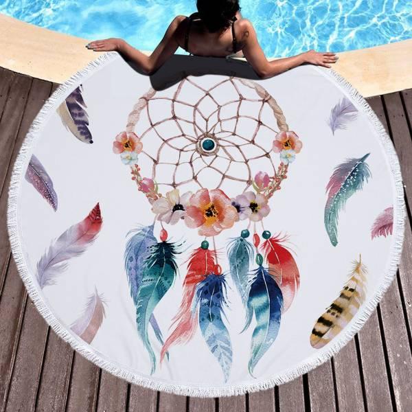 彩色羽毛捕夢網沙灘巾 沙灘巾