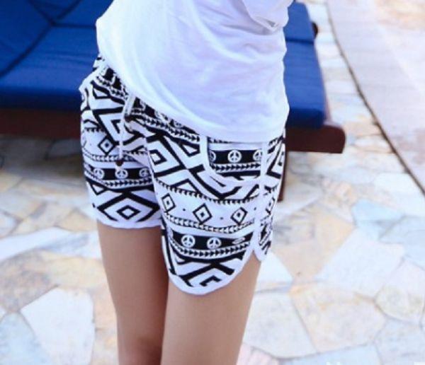 韓版黑白菱格沙灘褲/罩衫裙 女款沙灘褲,外罩衫
