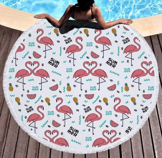 火烈鳥鳳梨西瓜沙灘巾 沙灘巾