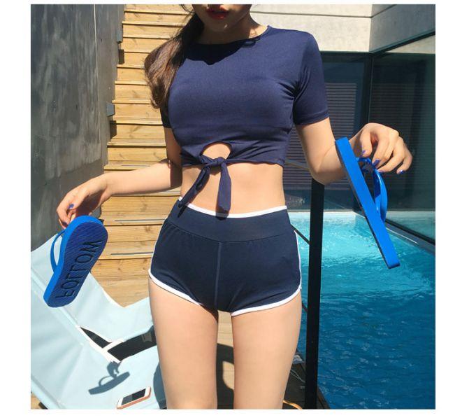 藍色短版前綁帶泳衣 比基尼,泳裝,泳衣