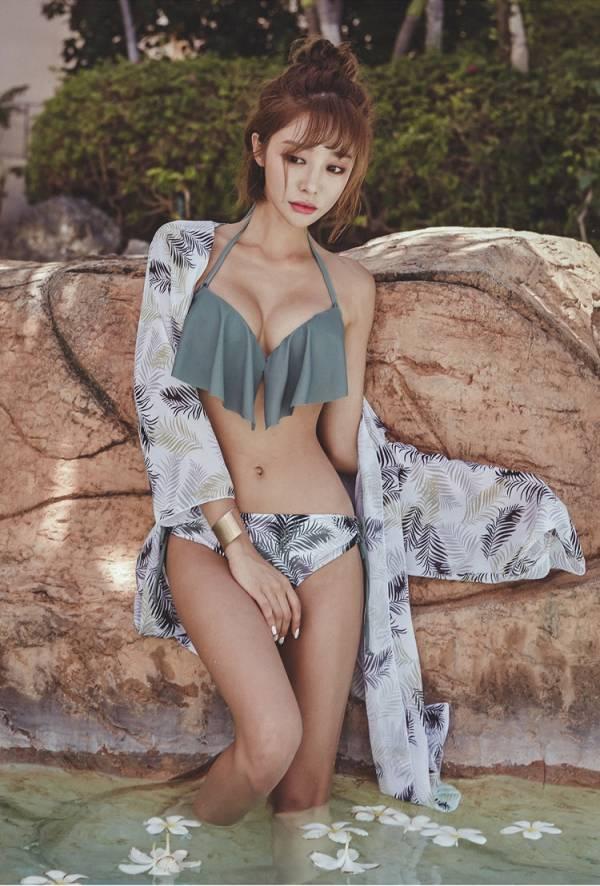 韓版灰色深V一字領三件套泳衣 比基尼,泳裝,泳衣