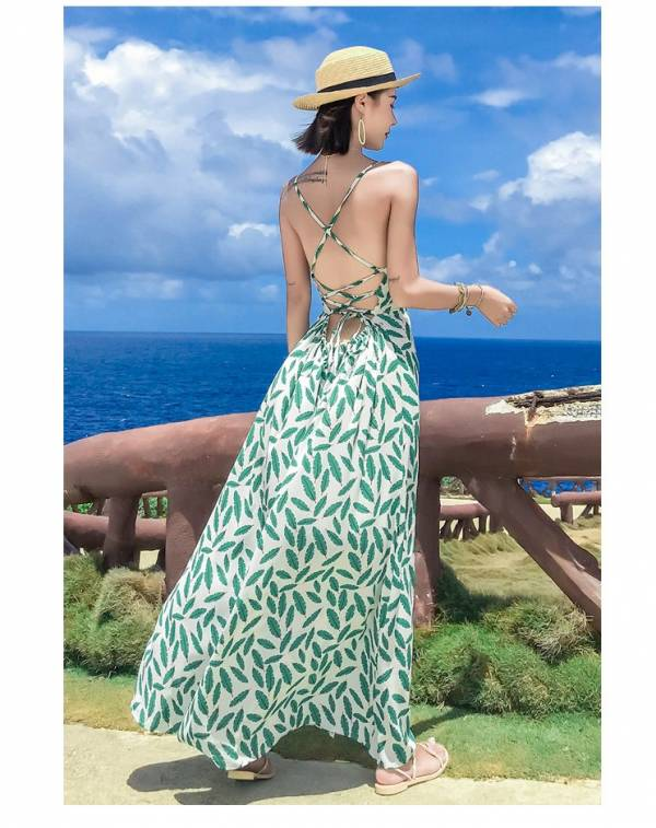 綠葉後綁帶美背度假洋裝 渡假洋裝,長裙