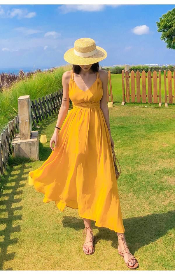 黃色氣質美背度假長洋 渡假洋裝,長裙