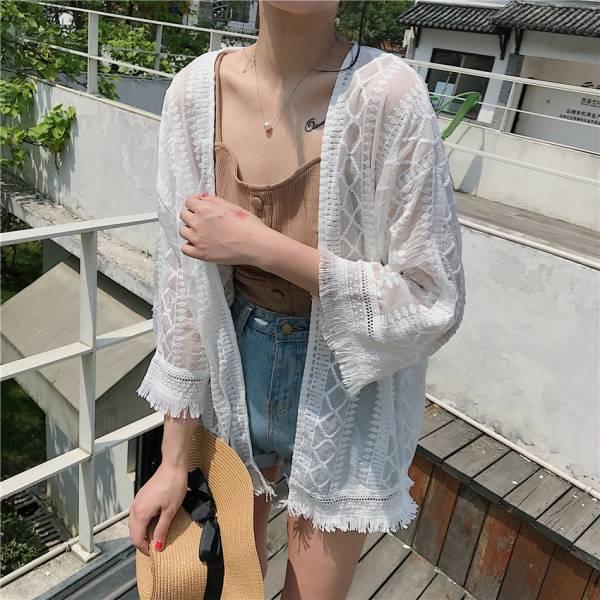 蕾絲流蘇外罩衫 罩衫