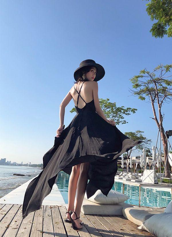 黑色美背度假風長洋裝 渡假洋裝,長裙