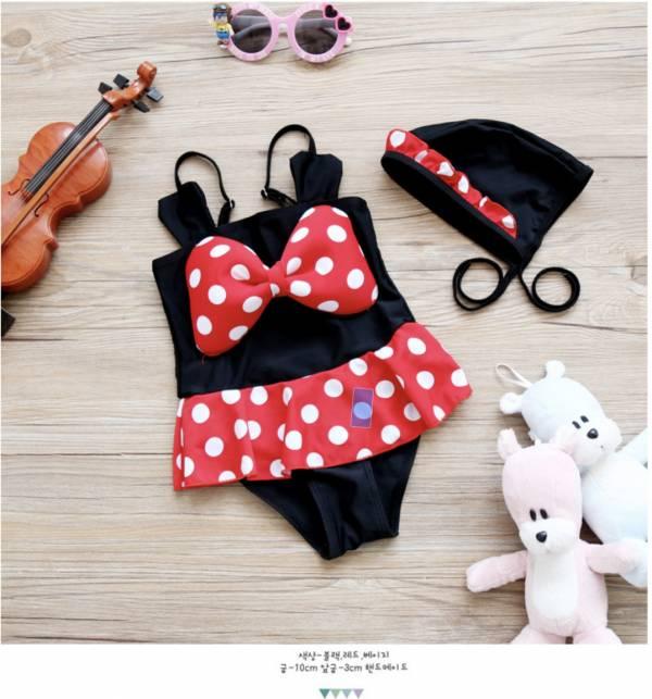 兒童紅色點點蝴蝶結造型連身泳衣 兒童泳裝,女童,兒童泳衣
