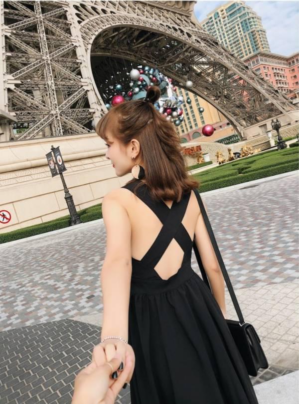 黑色寬肩美背洋裝 渡假洋裝,長裙