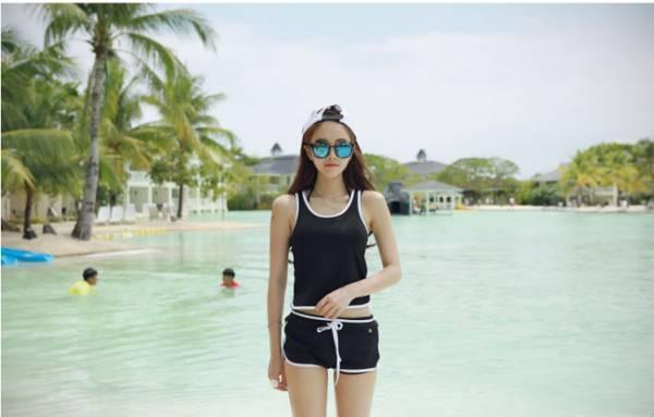 韓版背心式滾邊泳裝(黑/藍/橘) 比基尼,泳裝,泳衣