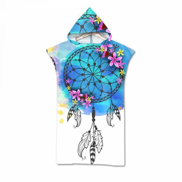 造型連帽毛巾衣藍色暈染捕夢網 毛巾衣,浴巾