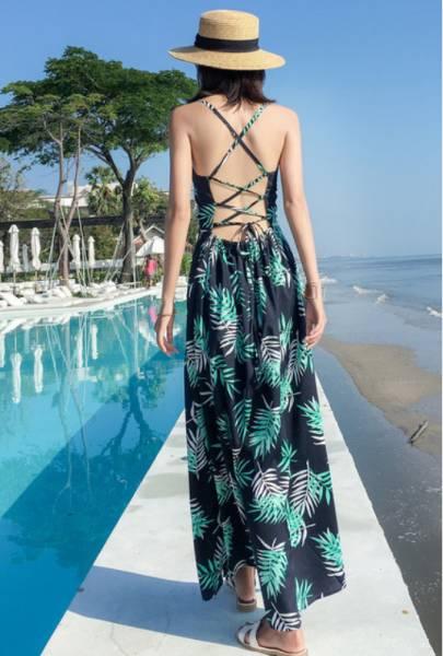 細葉後綁帶 渡假洋裝,長裙