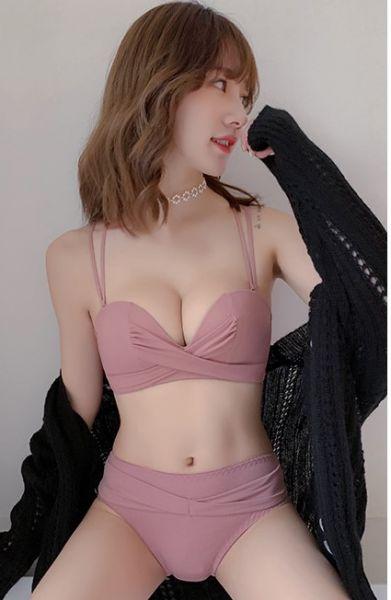 扭結美背美胸內衣(豆沙色) 內衣,美胸內衣,集中內衣,性感內衣