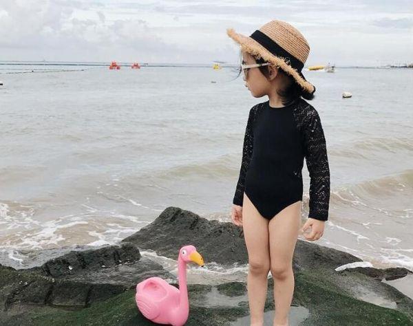 兒童親子母女裝長袖蕾絲露背泳裝 兒童泳裝,女童,兒童泳衣