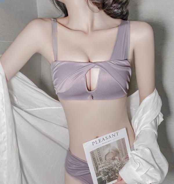 小胸專屬集中款無鋼圈造型內衣(粉紫) 內衣,美胸內衣,集中內衣,性感內衣