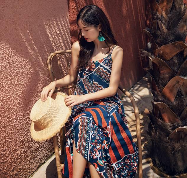 拼布民族風洋裝 渡假洋裝,長裙