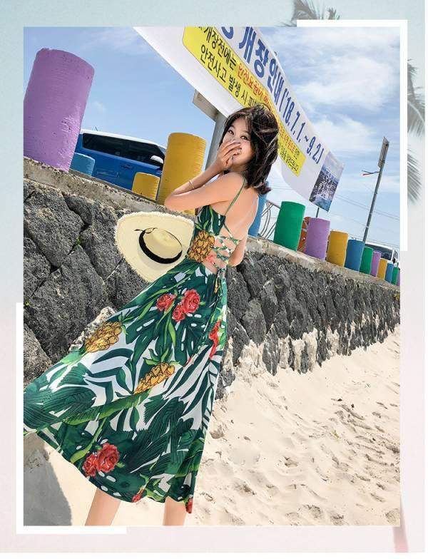 玫瑰綠色碎花綁帶渡假長裙 渡假洋裝,長裙