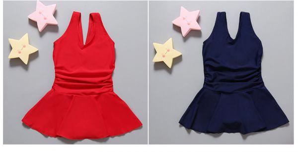 韓版兒童美背連身裙(紅色/藍色) 兒童泳裝,男童,女童,兒童泳衣,長袖