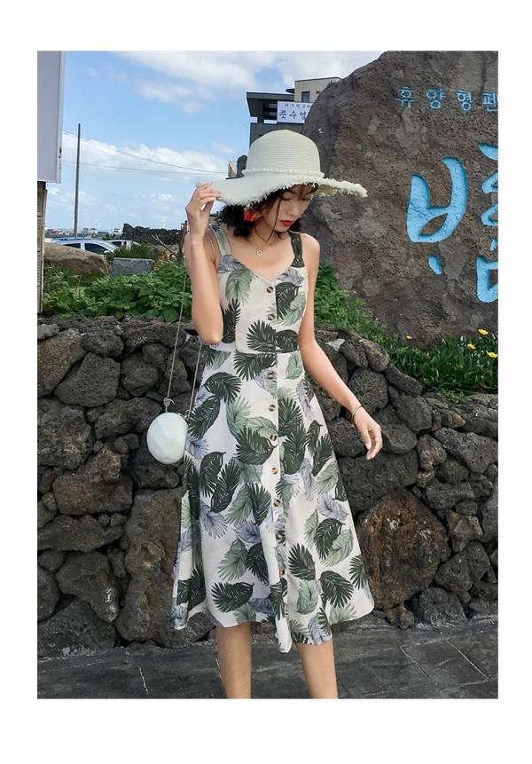 綠葉後綁度假洋裝 渡假洋裝,短裙,短洋裝