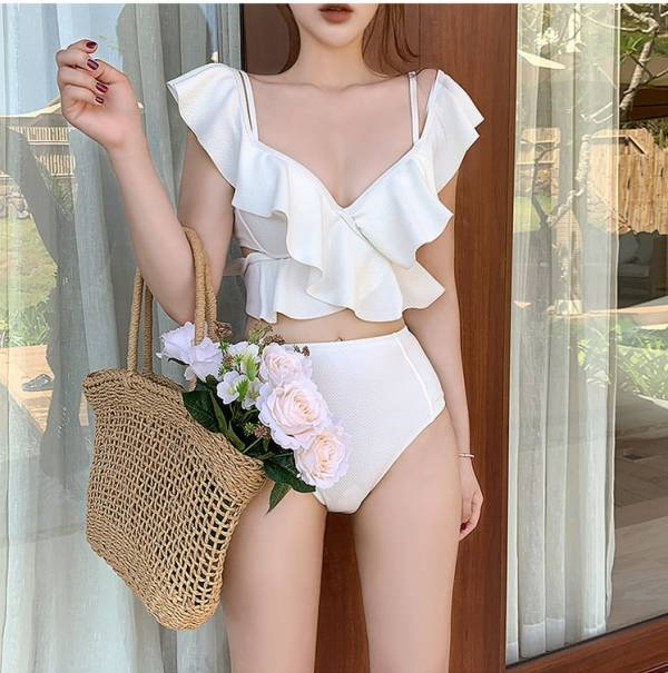 白色深V荷葉兩截式泳衣 比基尼,泳裝,泳衣