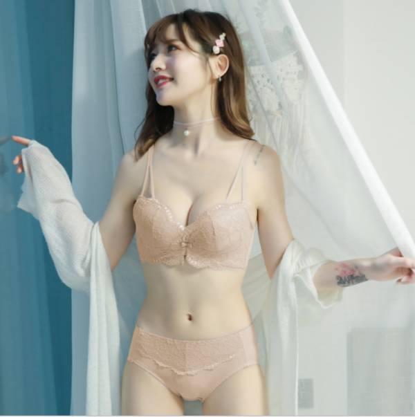蕾絲雙肩無鋼圈集中包副乳內衣(膚) 內衣,美胸內衣,集中內衣,性感內衣