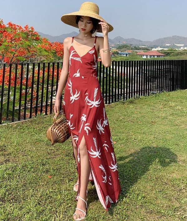 紅底椰樹後綁帶美背長洋裝 渡假洋裝,長裙