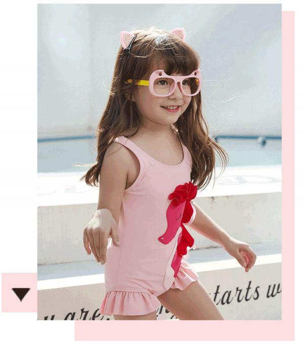 兒童粉色海馬連身泳衣 兒童泳裝,女童,兒童泳衣