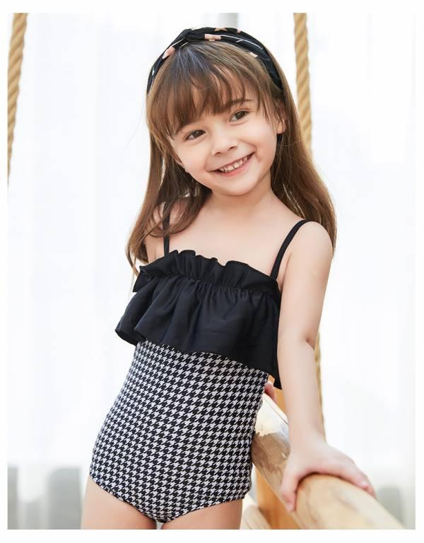 兒童荷葉千鳥格連身泳衣 兒童泳裝,女童,兒童泳衣