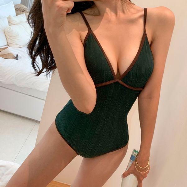 撞色滾邊連身泳衣(綠) 連身遮肚泳衣