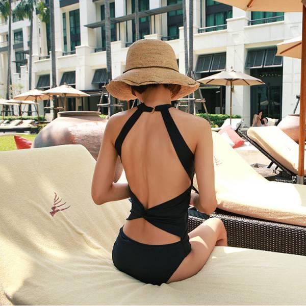 韓版時尚性感掛脖美背連身泳衣兩色 連身遮肚泳衣