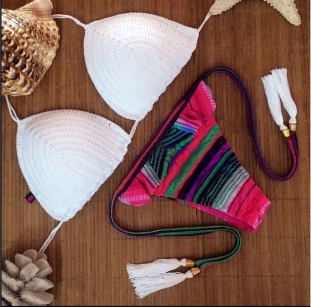 歐美無鋼圈針織貝殼流蘇圖騰比基尼 比基尼,泳裝,泳衣